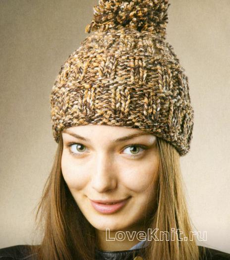 Как связать спицами меланжевая шапочка с помпоном