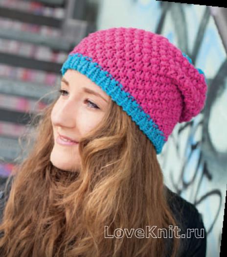 Как связать спицами модна шапка с контрастной планкой