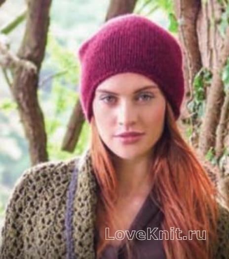Как связать спицами модная шапка лицевыми
