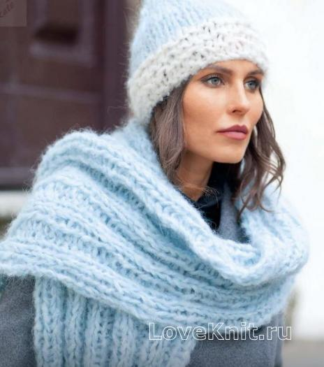 Как связать спицами мохеровый шарф и шапочка резинкой
