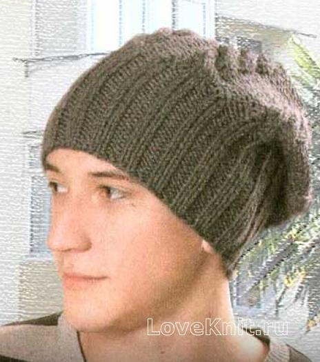 Мужская шапка с помпоном спицами схема фото 818