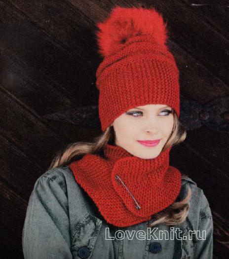 Как связать спицами объемная шапка с помпоном и шарфик