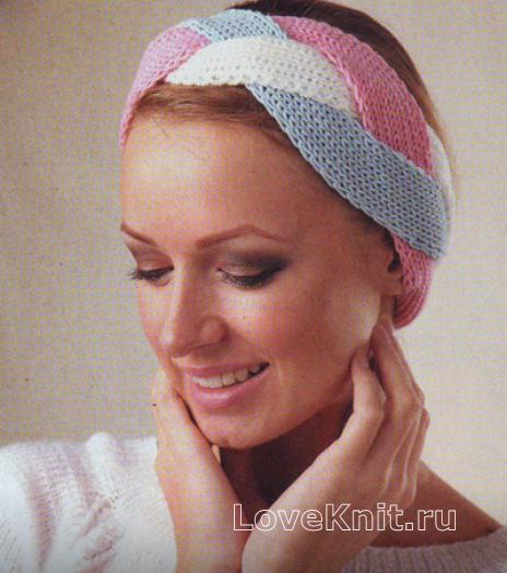 Как связать спицами повязка на голову трехцветная