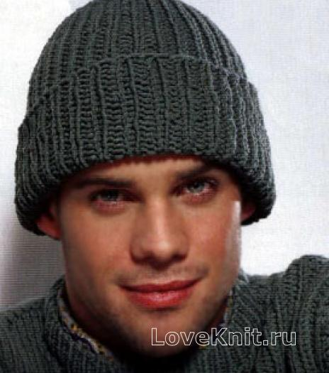 Простая мужская шапка с отворотом схема спицами » Люблю Вязать