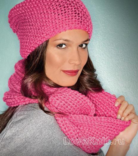 Как связать спицами простая розовая шапочка