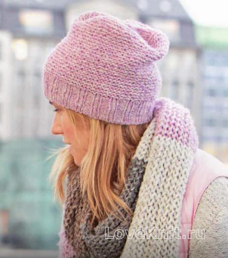 Как связать спицами розовая шапочка платочной гладью