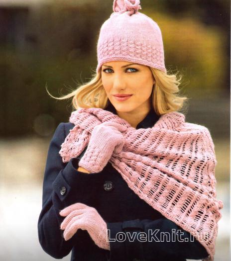 Как связать спицами розовый комплект шапка и перчатки