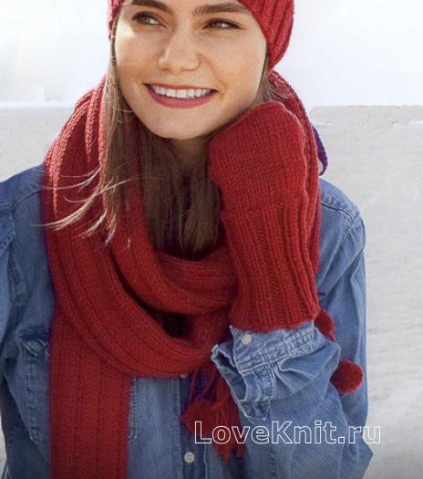 Как связать спицами шапка с помпоном и длинный шарф с кистями