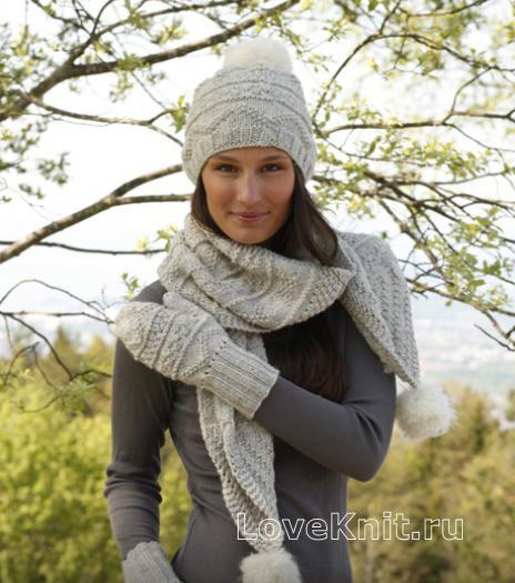 Как связать спицами шапка и шарфик с помпоном с варежками