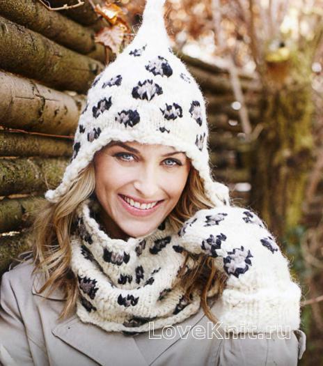 Как связать спицами шапка с ушками, снуд и варежки