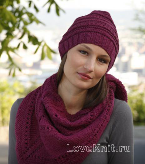 Как связать спицами шапочка и шаль с узором