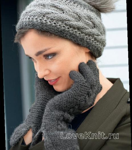 Как связать спицами шапочка с узором коса и перчатки