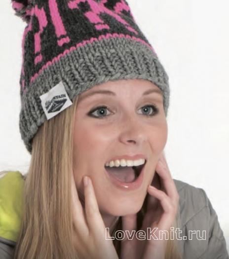 Как связать спицами спортивная цветная шапка с помпоном