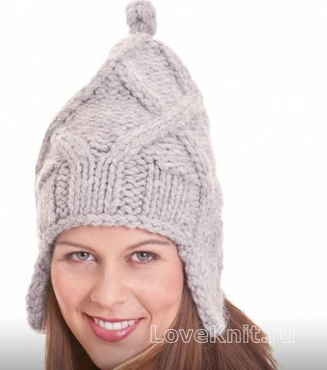 Как связать спицами высокая шапочка с ушками