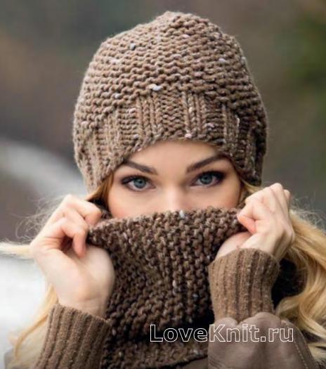 Как связать спицами женская шапка и шарф-снуд простым узором