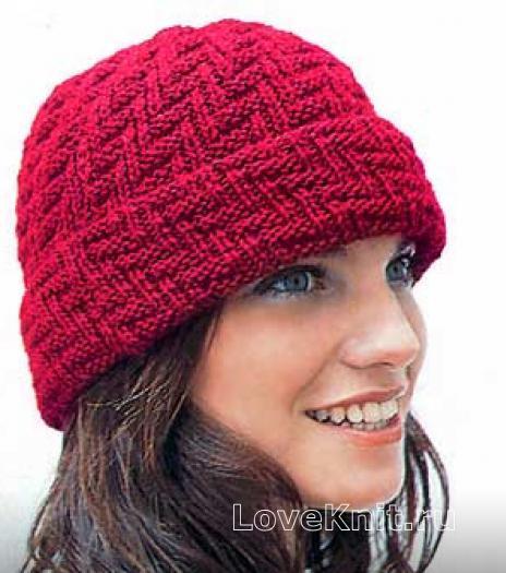 Как связать спицами женская шапочка с отворотом