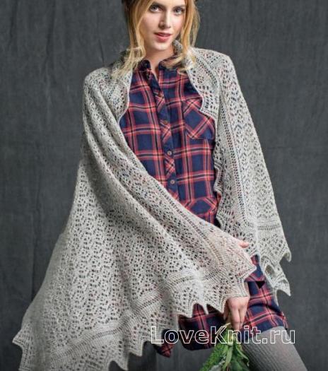 Как связать спицами ажурная шаль с узорчатым краем