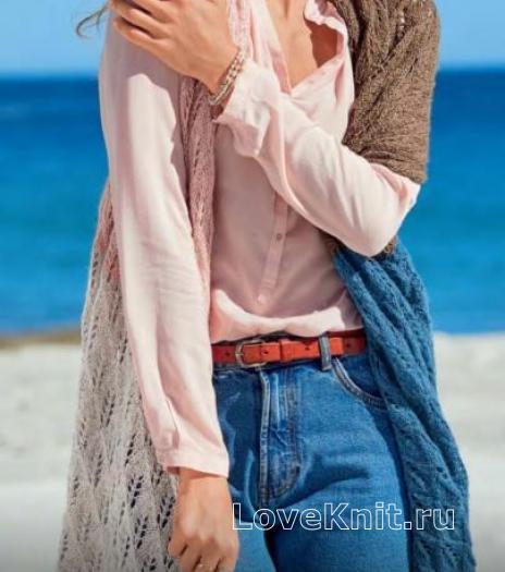 Как связать спицами ажурный цветной палантин
