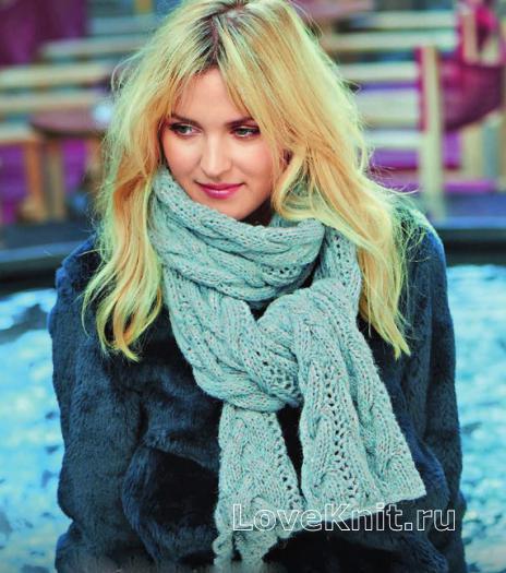 Как связать спицами ажурный шарф с узорами из кос