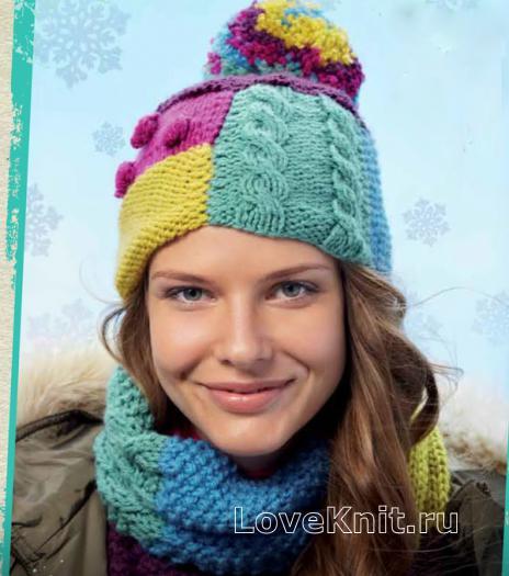 Как связать спицами цветная шапка и шарф в стиле пэчворк
