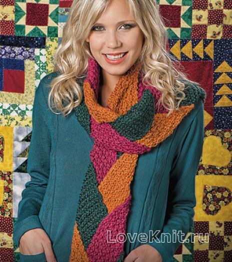 Как связать спицами цветной длинный шарф в лоскутной технике