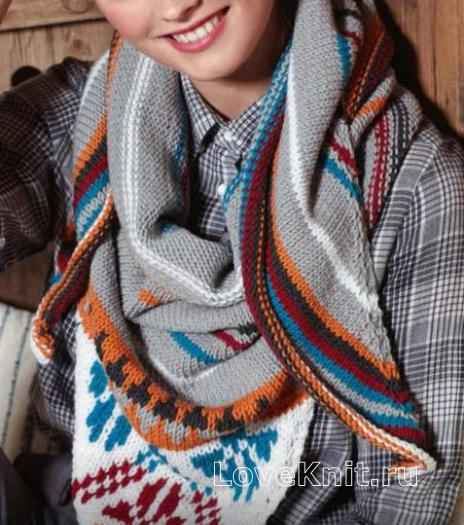 Как связать спицами цветной платок  в этно стиле