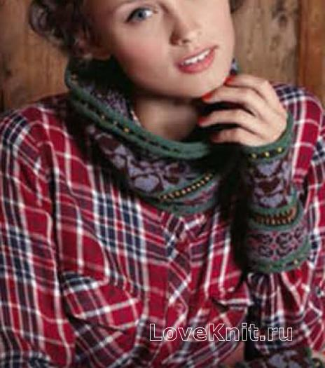 Как связать спицами цветной шарф и митенки с жаккардовым узором