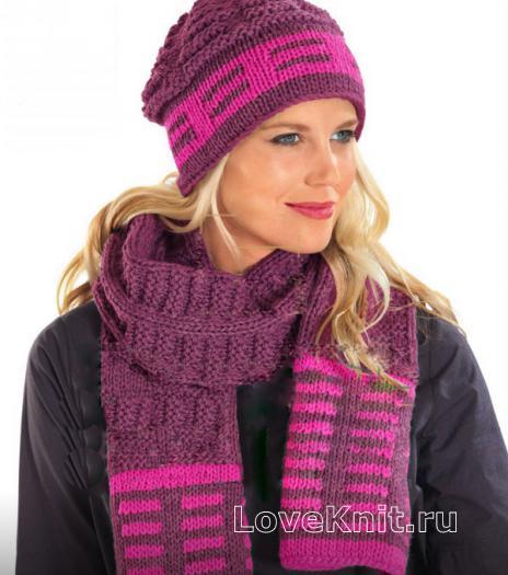 Как связать спицами цветной шарф с полосами