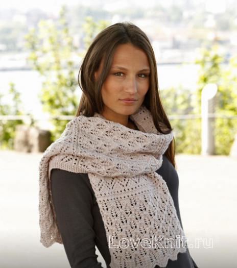 Как связать спицами длинный ажурный шарф
