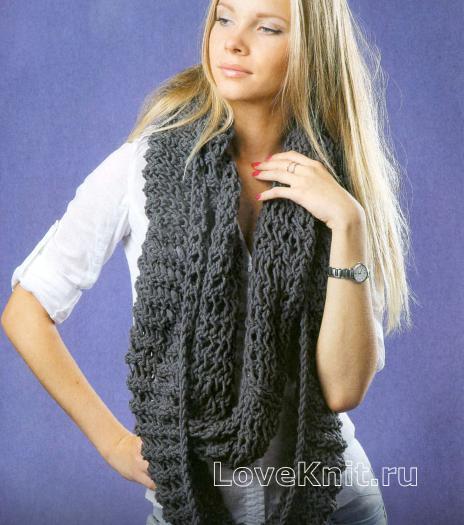 Как связать спицами длинный серый шарф-снуд