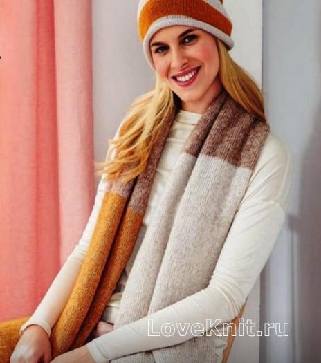 Как связать спицами длинный шарф из разноцветных блоков