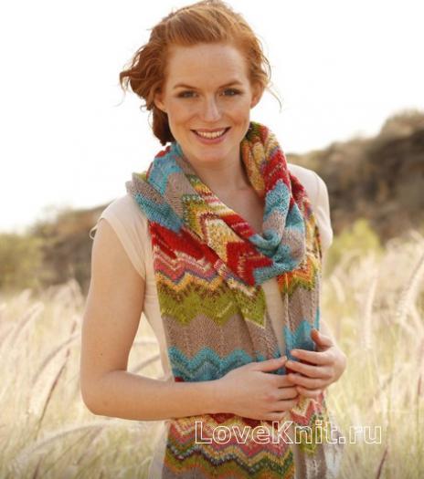 Как связать спицами длинный шарф с зигзагообразным узором