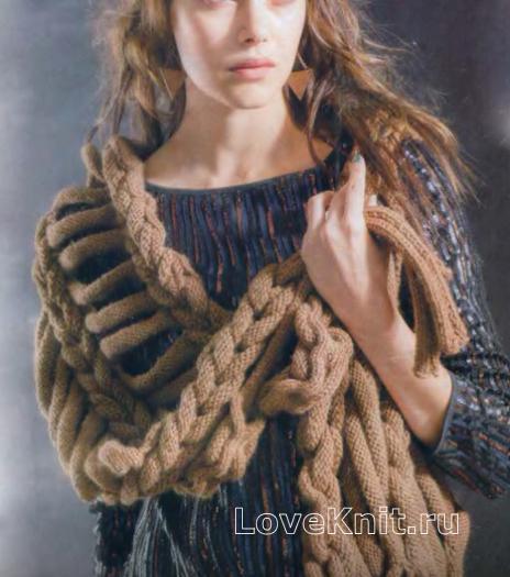 Как связать спицами длинный шарфик из шнурков