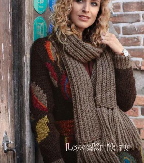 Как связать спицами длинный теплый шарф с кистями