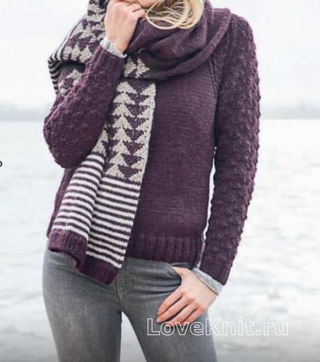 Как связать спицами двухцветный объемный шарф