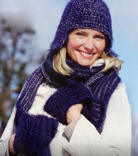 Как связать спицами комплект из шапочки ушанки и шарфика с карманами