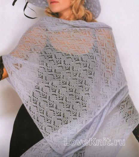 Как связать спицами легкая ажурная шаль