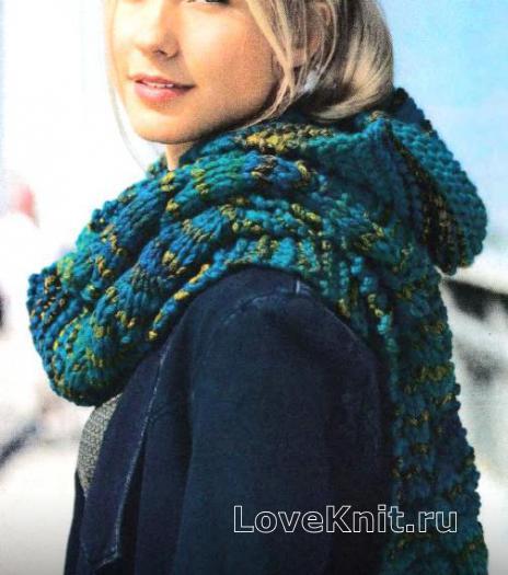 Как связать спицами меланжевый шарфик с капюшоном