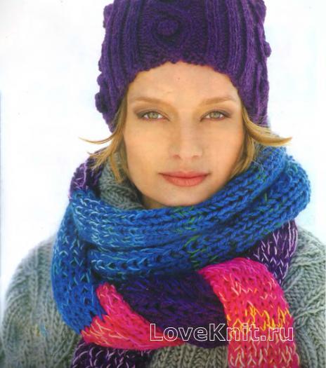 Как связать спицами объемный разноцветный шарф