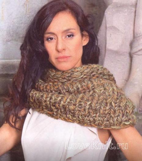 Как связать спицами объемный шарф-капюшон