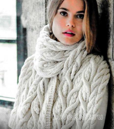 Как связать спицами объемный шарф с крупными косами