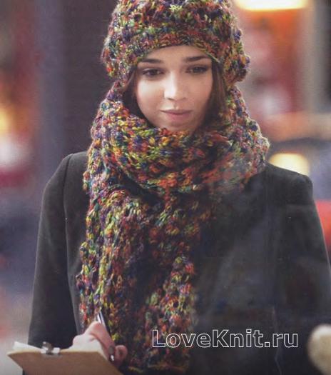 Как связать спицами объемный шарф и шапка из пряжи секционного крашения