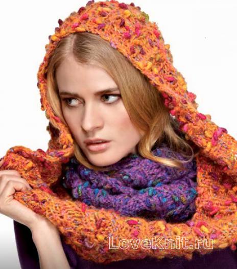 Как связать спицами оранжевый и фиолетовый шарф-хомут