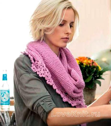 Как связать спицами платок с кружевной окантовкой