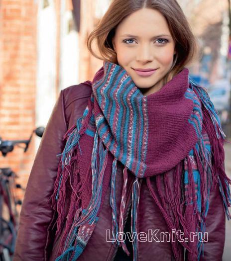 Как связать спицами полосатый платок с бахромой