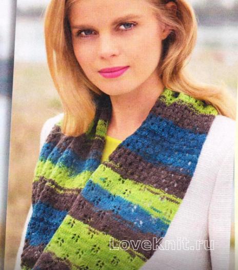 Как связать спицами полосатый шарф хомут