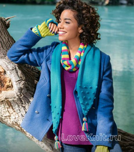Как связать спицами полосатый шарфик с кисточками и цветные митенки