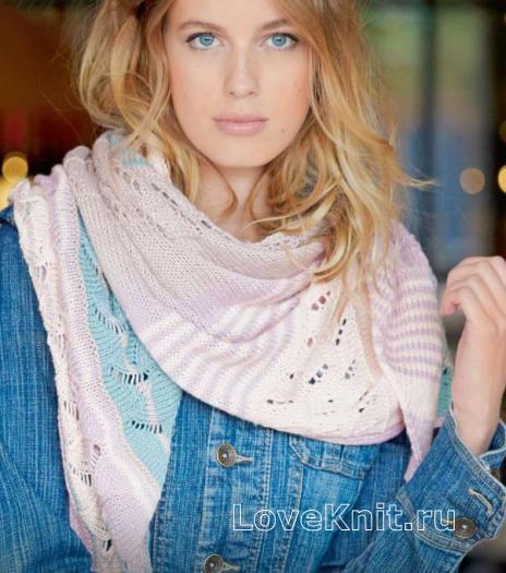 Как связать спицами разноцветный платок с ажурным рисунком