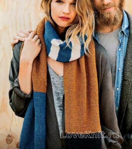 Как связать спицами разноцветный широкий шарф