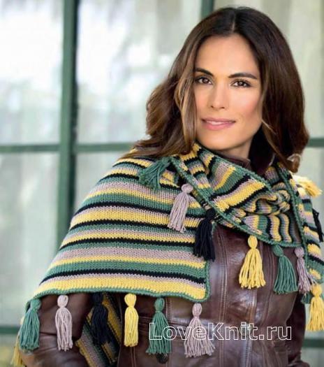 Как связать спицами разноцветный женский шарф с кистями